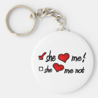 She Loves Me With Check Mark In Box & Hearts Keychain