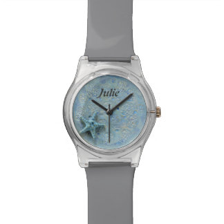 She Loves Seashells Blue Starfish Gray Name Watch