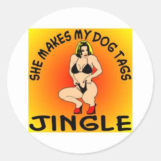 She Makes My Dog Tags Jingle Classic Round Sticker
