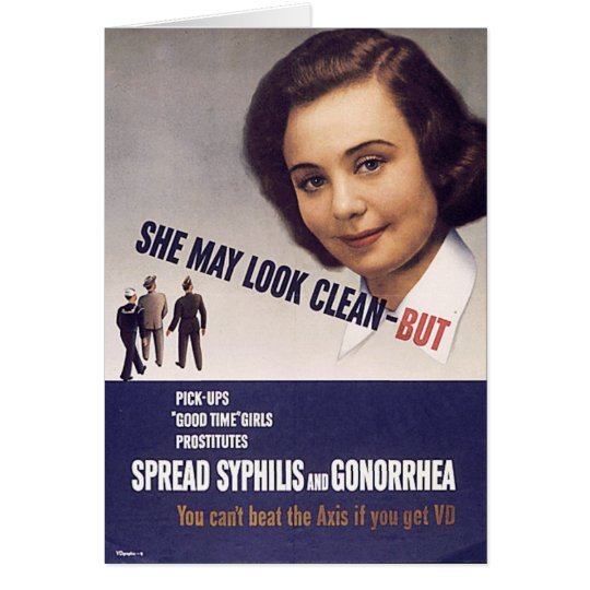 """""""She May Look Clean"""" WWII Warning Poster VD Card"""