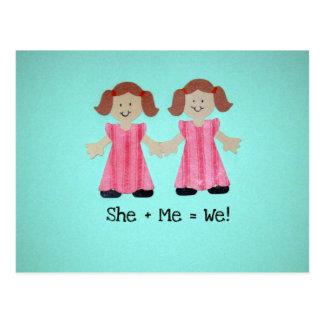 She + Me = We! Postcard