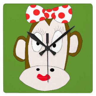 She Monkey Square Clock
