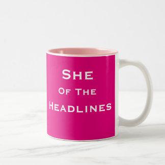 She of Headlines Female News Reporter Journalist Two-Tone Coffee Mug