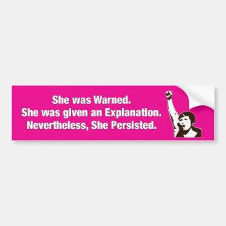 """""""She Persisted!"""" Bumper Sticker"""