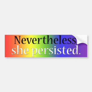 She persisted bumper sticker (rainbow)