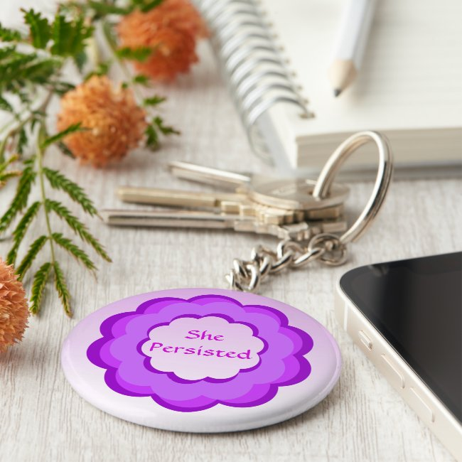 She Persisted Purple and Pink Flower Keychain