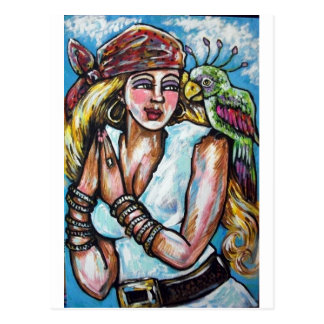 SHE PIRATE WITH PARROT POSTCARD