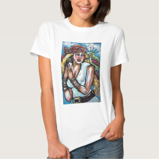 SHE PIRATE WITH PARROT T SHIRT