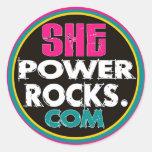 She Power Rocks logo sticker (round)