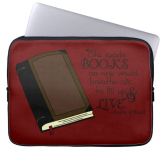 She Reads Books Laptop Sleeves