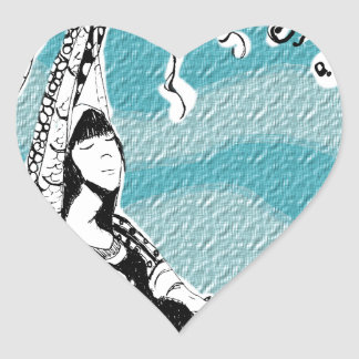 She retired to a deserted island to relax heart sticker