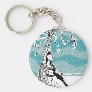 She retired to a deserted island to relax keychain
