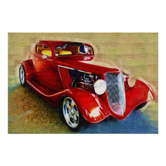 She s a Classic Beautiful Red Car Poster