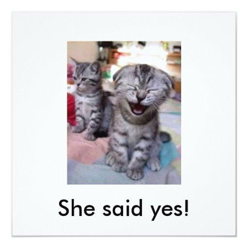 She said yes! 13 cm x 13 cm square invitation card