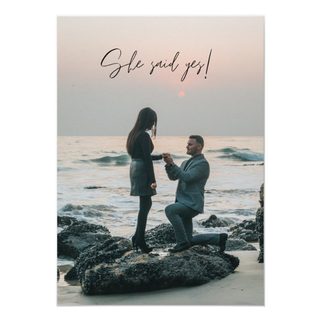 She Said Yes Beach Photo Engagement Party Invitation