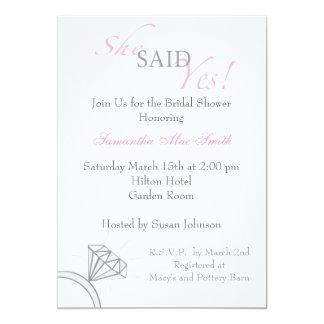 She Said Yes- Blush Pink 5x7 Paper Invitation Card