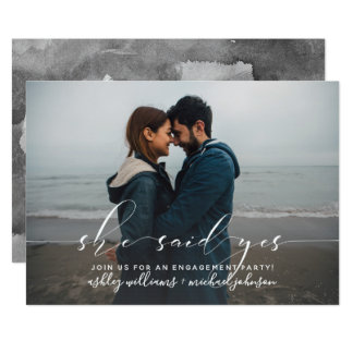 She Said Yes Calligraphy Engagement Party Invite