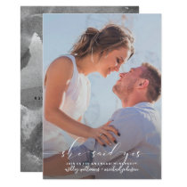 She Said Yes Calligraphy Photo Engagement Party Invitation