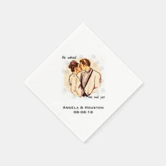 She Said Yes Customized Wedding Paper Napkins