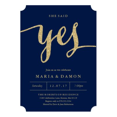 Rose Gold She Said Yes Engagement Party Invite Zazzlecom