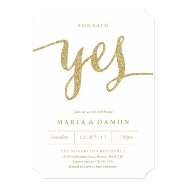 FINEandDANDY She Said Yes Engagement Party Invitation