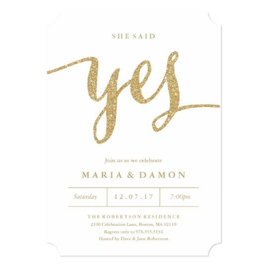 She Said Yes Engagement Party Invitation Zazzlecom