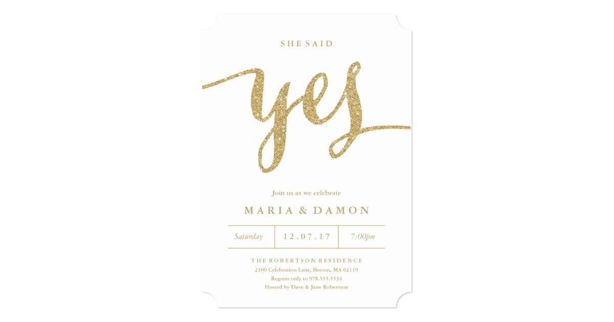 Unique She Said Yes Engagement Party Invitations Elaboration ...