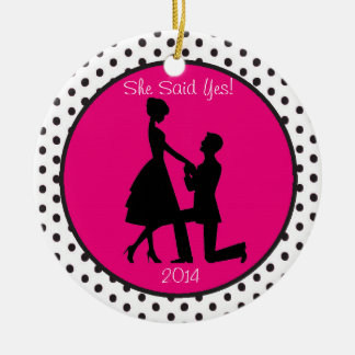 She Said Yes Engagement Personalized Ornament