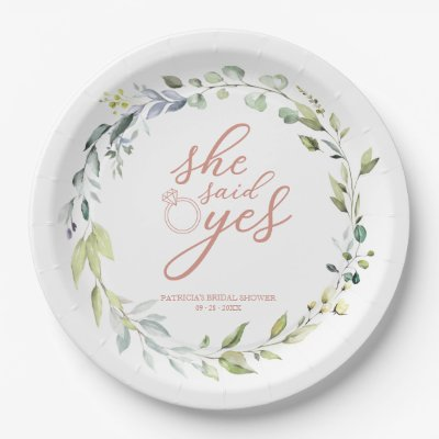 She Said Yes Greenery Eucalyptus Bridal Shower Paper Plate