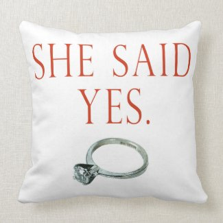 She Said Yes Groom Engagement Pillows
