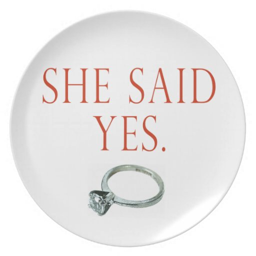 She said yes groom engagement plate zazzle