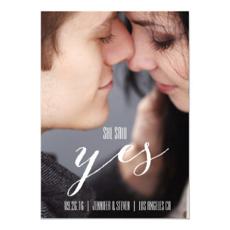 SHE SAID YES | MODERN PHOTO SAVE THE DATE 5X7 PAPER INVITATION CARD