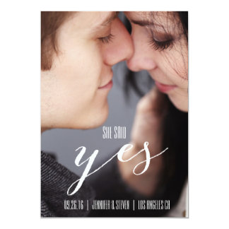 SHE SAID YES | MODERN PHOTO SAVE THE DATE PERSONALIZED ANNOUNCEMENTS