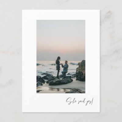 She Said Yes Photo Engagement Party Postcard