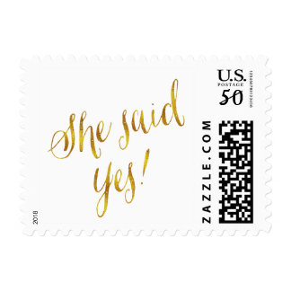 She Said Yes Quote Faux Gold Foil Metallic Design Postage