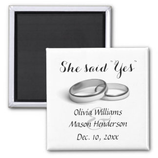 """She said """"Yes"""" Save the Date Magnet"""