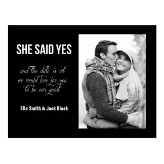 She Said Yes Save The Date Postcard