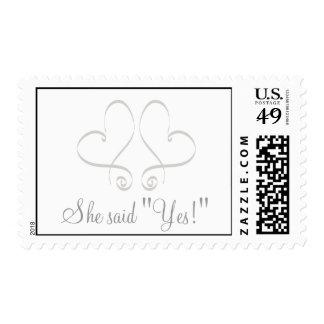 "She said ""Yes!"" Wedding Postage Stamps"