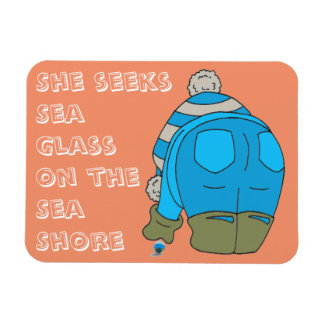 She Seeks Sea Glass on the Sea Shore Rectangular Photo Magnet