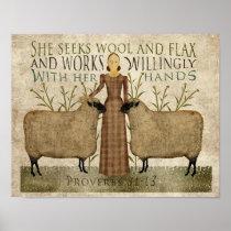 She Seeks Wool & Flax Poster