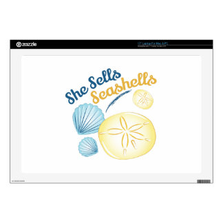 "She Sells Seashells Decals For 17"" Laptops"