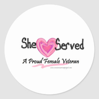 She Served Collection Classic Round Sticker