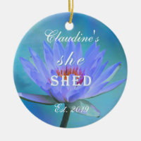 She Shed Shades of Blue Water Lily Christmas Ceramic Ornament
