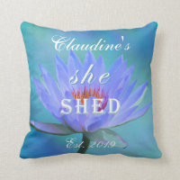 She Shed Shades of Blue Water Lily Square Throw Pillow