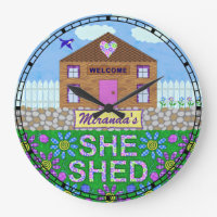 She Shed Woman Cave Custom Name Garden Hut Large Clock