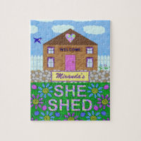 She Shed Woman Cave Garden Haven Personalized Name Jigsaw Puzzle