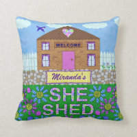 She Shed Woman Cave Garden Hut Custom Name Throw Pillow