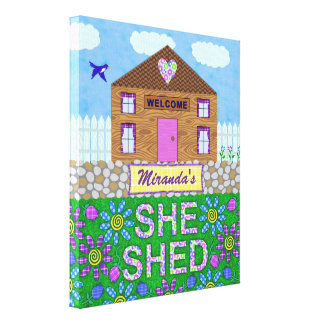 She Shed Woman Cave Garden Hut Personalized Name Canvas Print