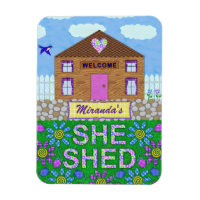 She Shed Woman Cave Garden Hut Personalized Name Magnet