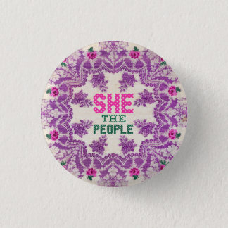 She The People Cross Stitch Button
